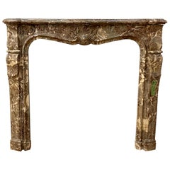 18th Century Petite Antique French Marble Mantel Louis XV Style Hand Carved