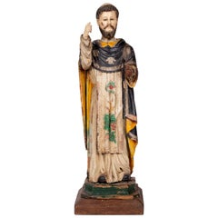 18th Century Philippine Painted and Gilded Wooden Carved Dominican Order Saint