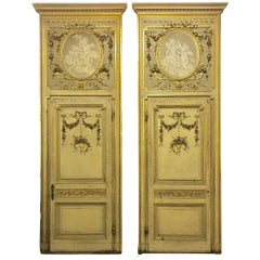 18th Century Piedmont Neoclassical Carved and Gilted Wood Pair of Doors