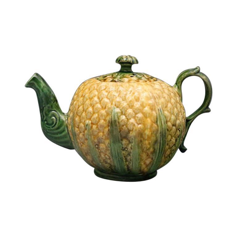 18th Century Pineapple Pattern Lead Glazed Creamware Pottery Teapot For Sale