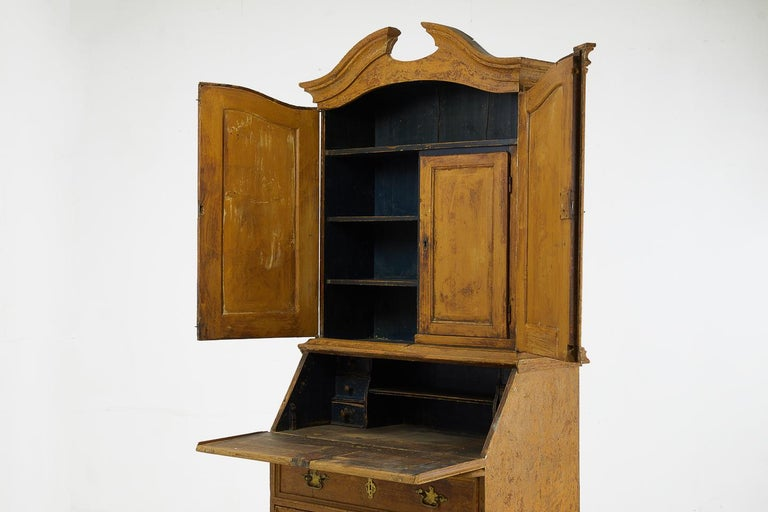 European 18th Century Pinewood Bureau Cabinet with Original Paint For Sale