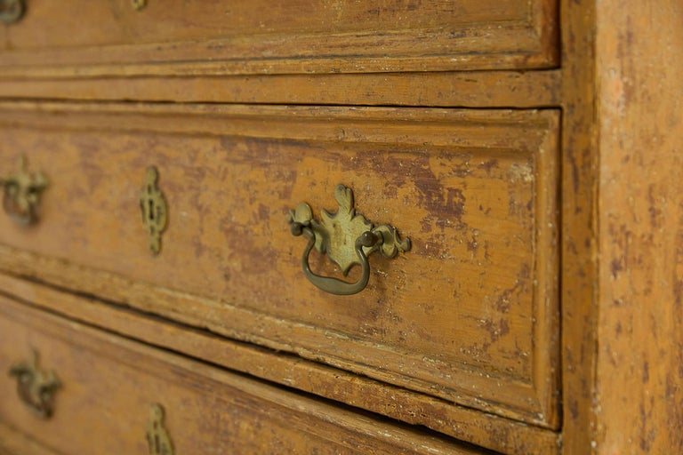 18th Century and Earlier 18th Century Pinewood Bureau Cabinet with Original Paint For Sale