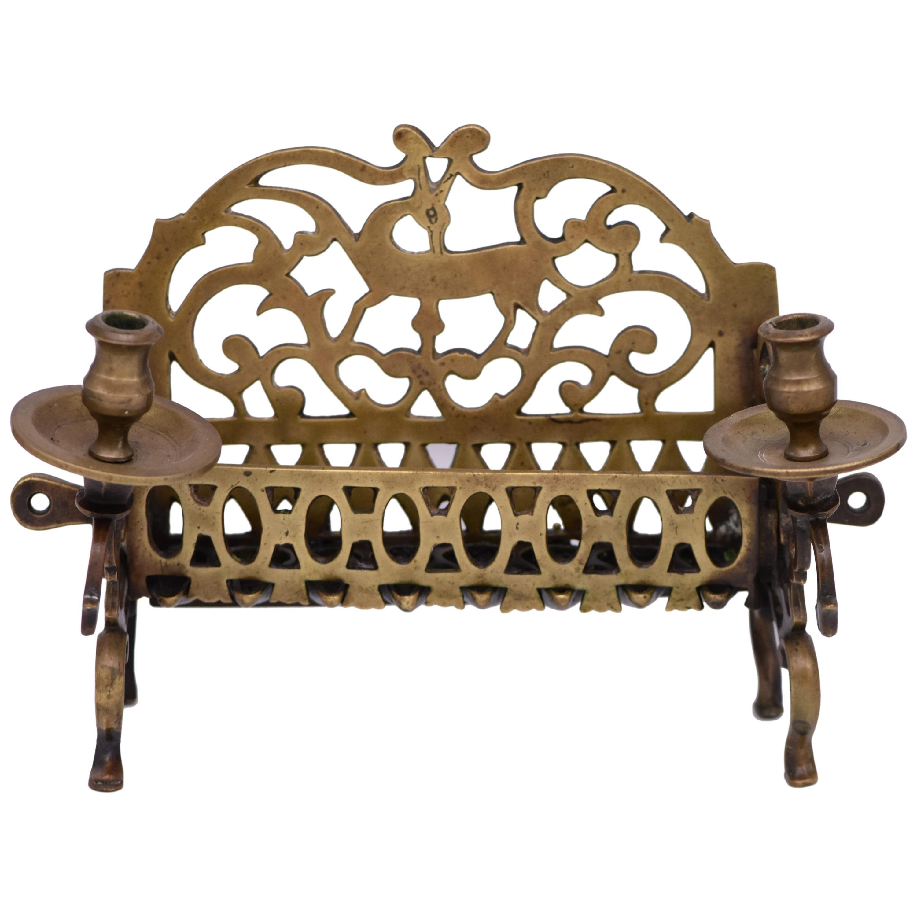 18th Century Polish Brass Hanukkah Lamp