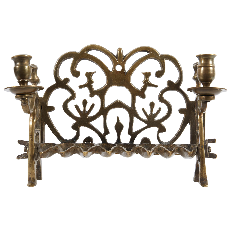 18th Century Polish Brass Hanukkah Lamp Menorah