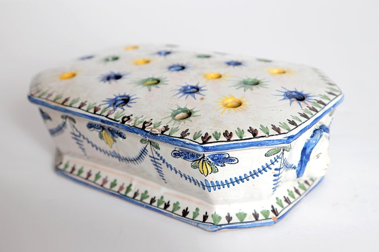 Baroque 18th Century Polychrome Faience Flower Frog For Sale