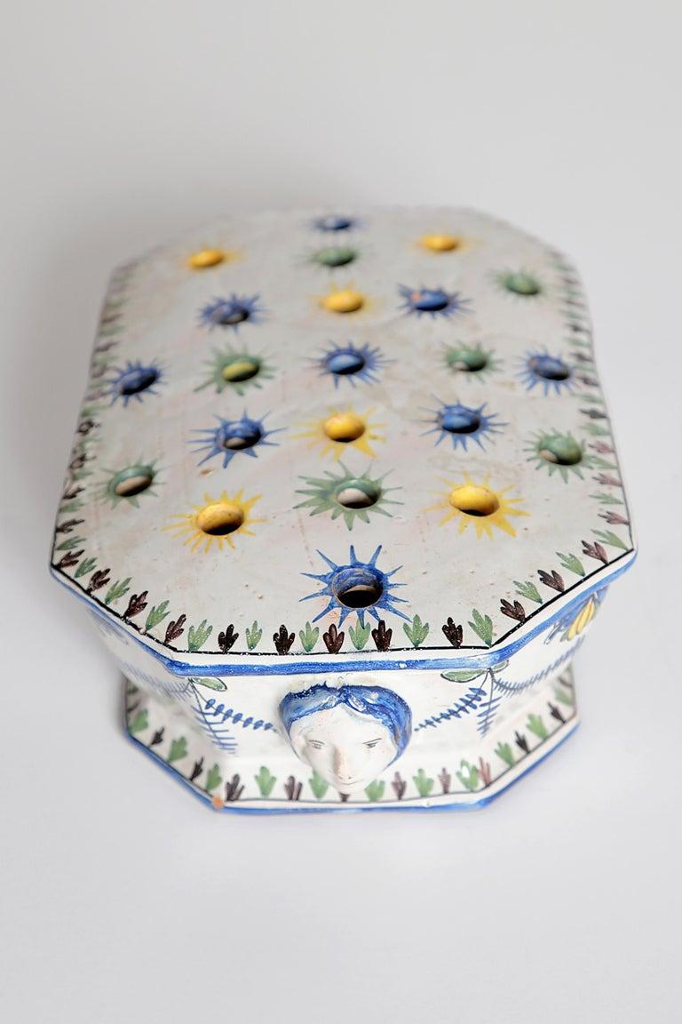 Glazed 18th Century Polychrome Faience Flower Frog For Sale