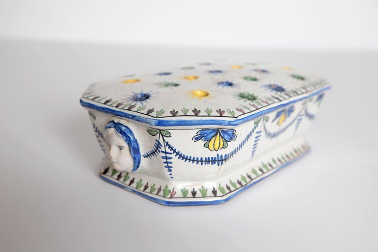 18th Century and Earlier 18th Century Polychrome Faience Flower Frog For Sale