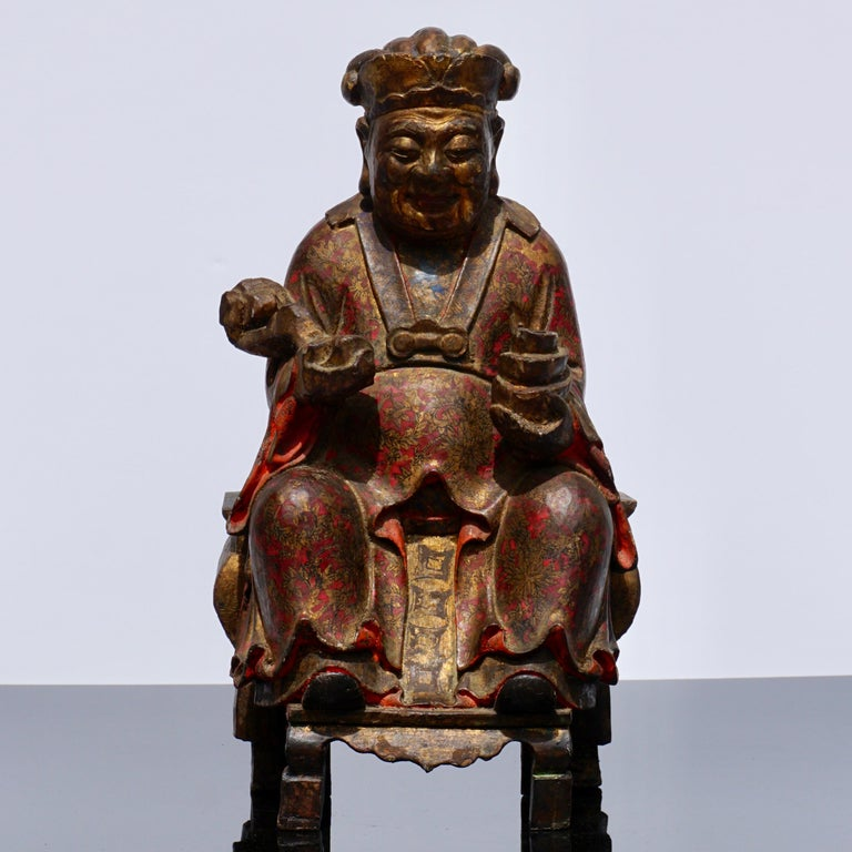 18th Century Polychromed Carved Buddha Statue For Sale 5