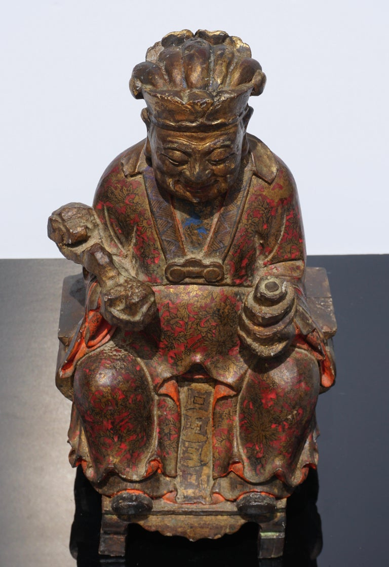 18th Century Polychromed Carved Buddha Statue For Sale 6