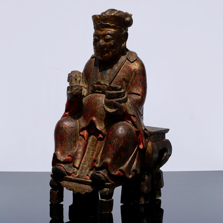Chinese 18th Century Polychromed Carved Buddha Statue For Sale