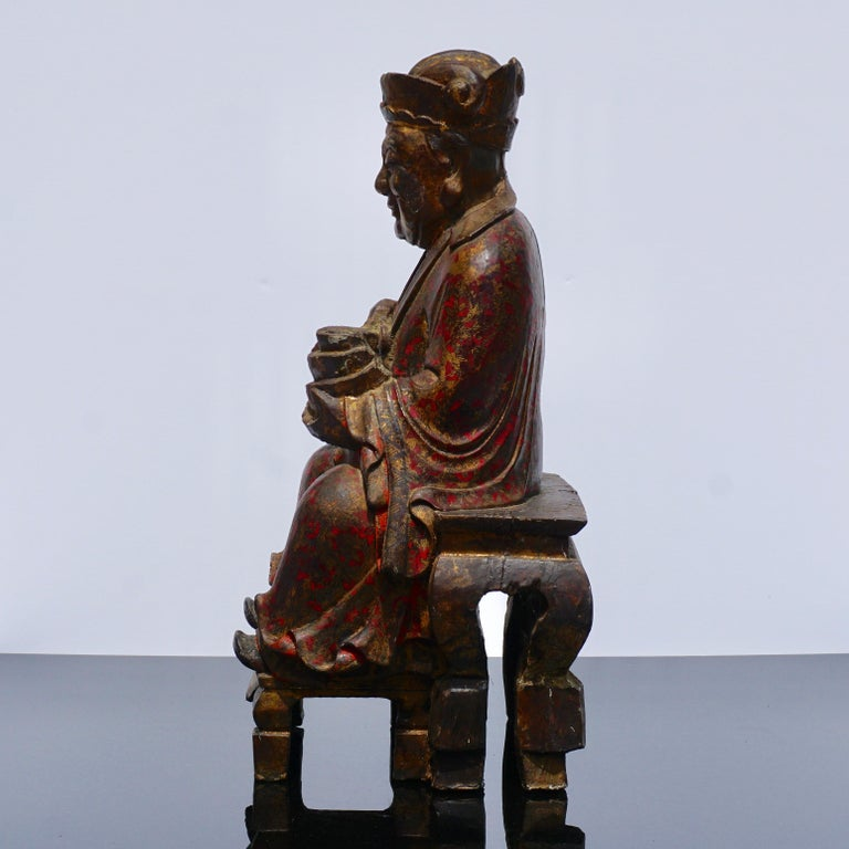 18th Century Polychromed Carved Buddha Statue In Good Condition For Sale In Dallas, TX