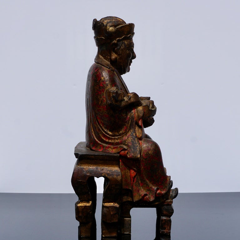 Wood 18th Century Polychromed Carved Buddha Statue For Sale