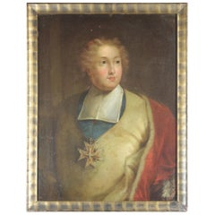 18th Century Portrait of a French Cardinal with Velvet Coat and Medal