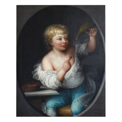 18th Century Portrait Painting Boy with a Parrot, Denmark Signed Erik Pauelsen