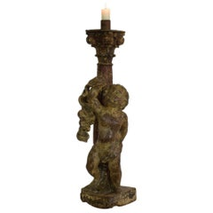 18th Century, Portuguese Carved Wood Baroque Angel with Candleholder