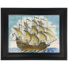 18th Century Portuguese Mural Tiles/Wall Hanging with Sailboat on the Sea