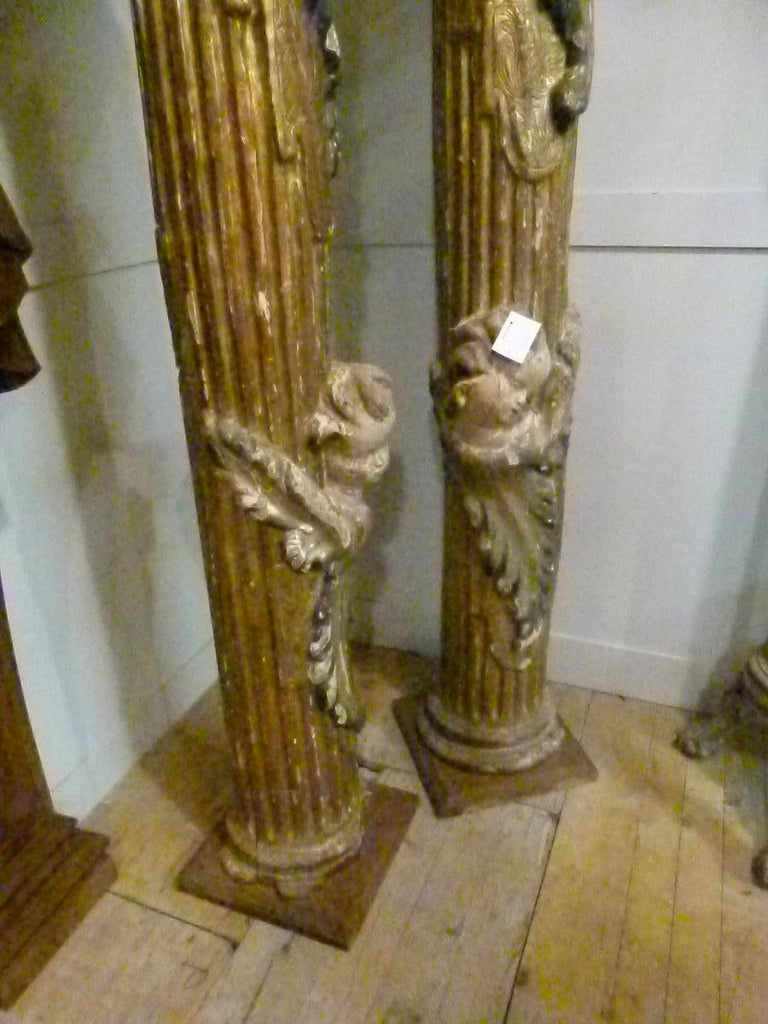 Louis XIV 18th Century Pair of Hand Carved Polychromed Wooden Columns For Sale