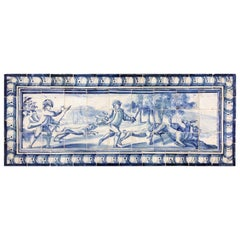 18th Century Portuguese blue on white Panel Representing a Deer Hunt