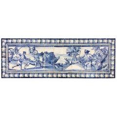 18th Century Portuguese blue on white Panel Representing a Wild Boar Hunt