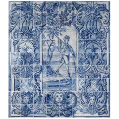 18th Century Portuguese Tile Mural Hunter in Blue