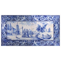 "18th Century Portuguese Azulejos Panel ""Ladies by the lake"" in blue"