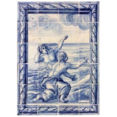 "18th Century Portuguese blue on white Tile Panel ""Mermaids"""