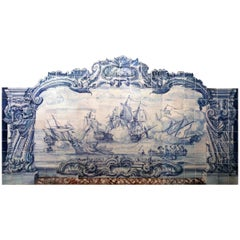 18th Century Portuguese Tiles Mural with Navy Battle in Blue
