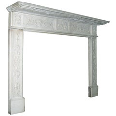 18th Century Possibly Earlier Italian Neoclassical Marble Fireplace Mantel