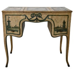 18th Century Poudreuse Writing Desk, Console Table Painted Piemont Italien