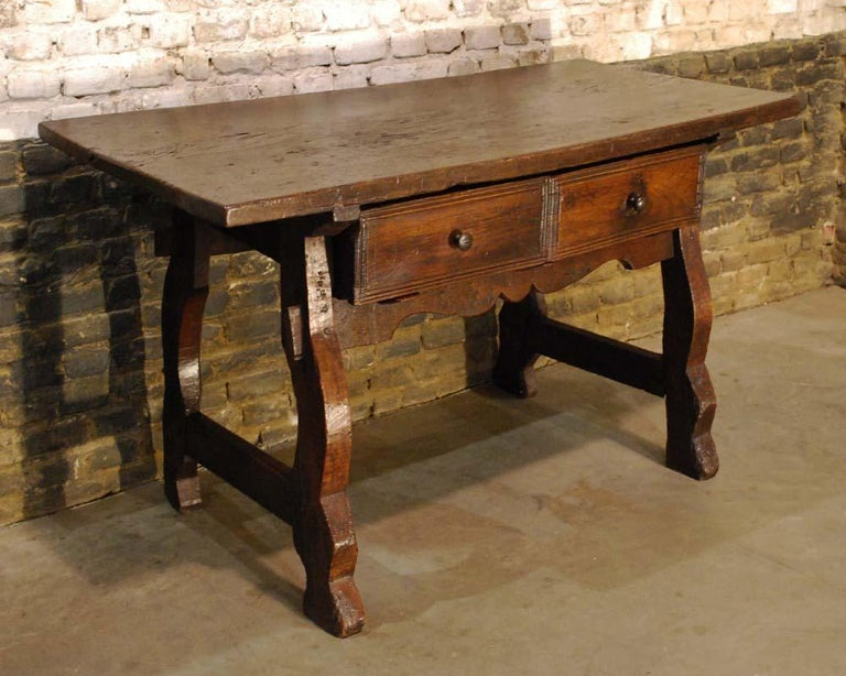 18th Century Antique 18th century Spanish baroque chestnut desk or sidetable For Sale