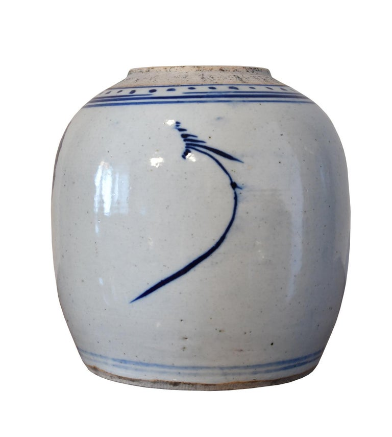 Turned 18th Century Qing Chinese Porcelain Cobalt Blue and White Jar with Peony For Sale