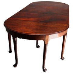 18th Century Queen Anne Carved Mahogany 3-Section Drop-Leaf Banquet Table