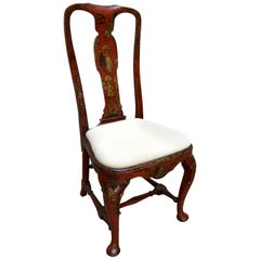 18th Century Queen Anne Period Red Lacquer and Gold Gilt Side Chair