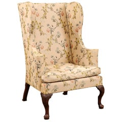 18th Century Queen Anne Style Carved Walnut Wing Chair, New England