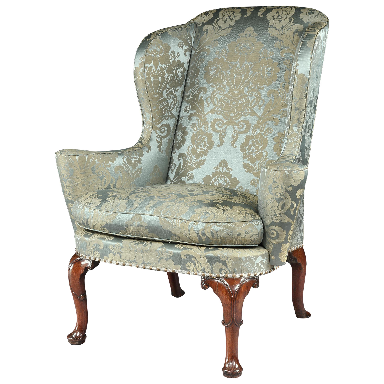 18th Century Queen Anne Walnut Wing Chair