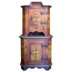 18th Century Rare Double Body Floral Painted Cabinet, 1752