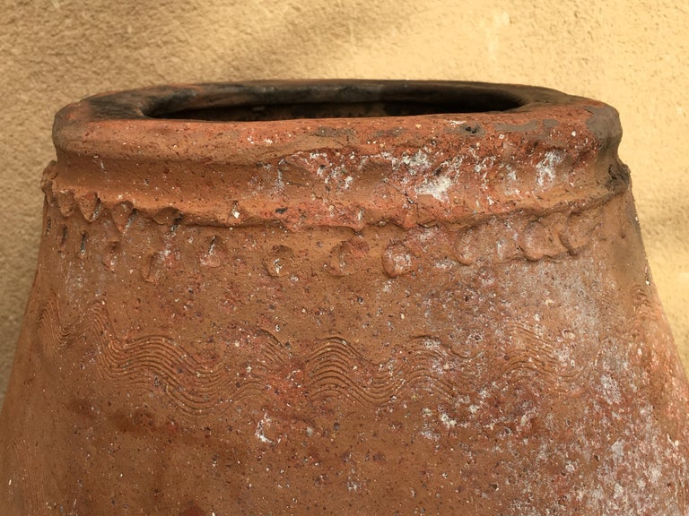 18th Century Rare Large Terracotta Hand Carved French Biot Pot For Sale 1