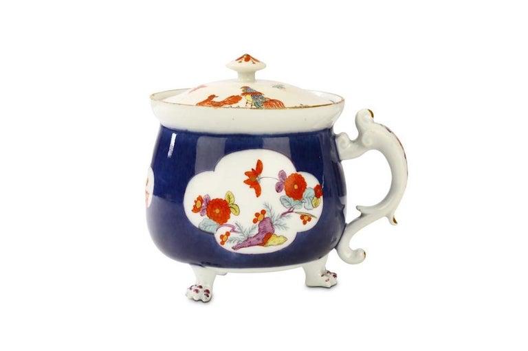 Porcelain 18th Century Rare Meissen Underglaze-Blue-Ground Cream Pot and Cover For Sale
