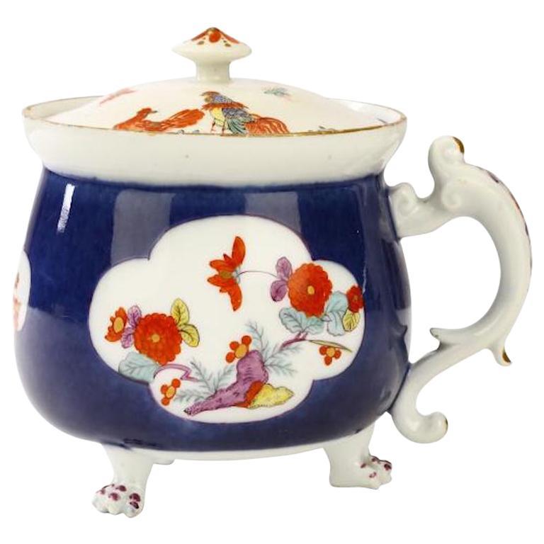 18th Century Rare Meissen Underglaze-Blue-Ground Cream Pot and Cover For Sale