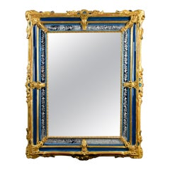 18th Century Rectangular Gilded Wood and Blue Glass Paste Venetian Wall Mirror
