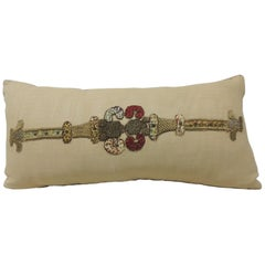 Gold and Red Embroidered Linen Applique Long Bolster Decorative Pillow