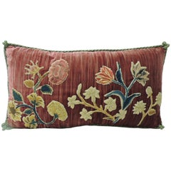 18th Century Red Hand-Applique Bolster Decorative Silk Velvet Pillow
