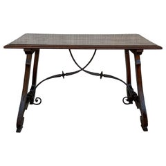 18th Century Refectory Spanish Table with Lyre Legs and Iron Stretch