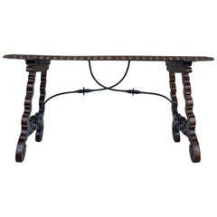 18th Century Refectory Spanish Table with Lyre Legs, Carved Edges & Iron Stretch