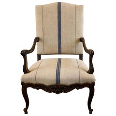 18th Century Régence Fauteuil, Antique French Beechwood, Brass Armchair