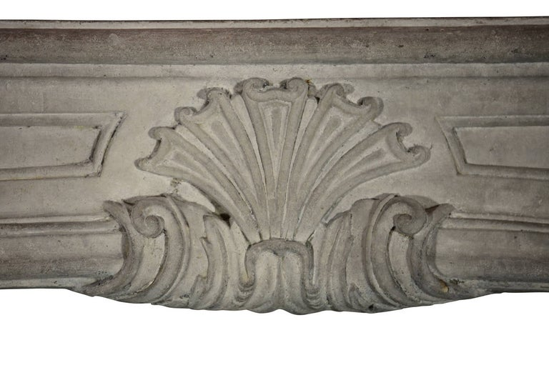 Carved 18th Century Regency Antique French Classic Limestone Fireplace Surround For Sale