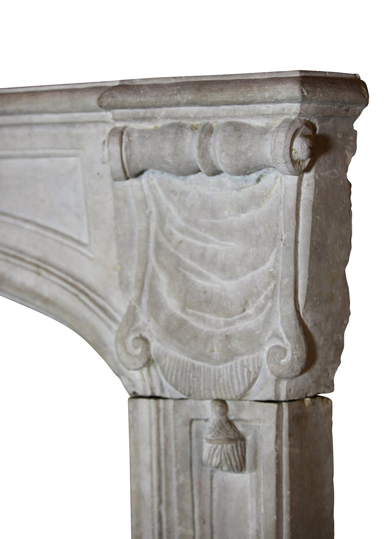 18th Century Regency Antique French Classic Limestone Fireplace Surround In Excellent Condition For Sale In Beervelde, BE