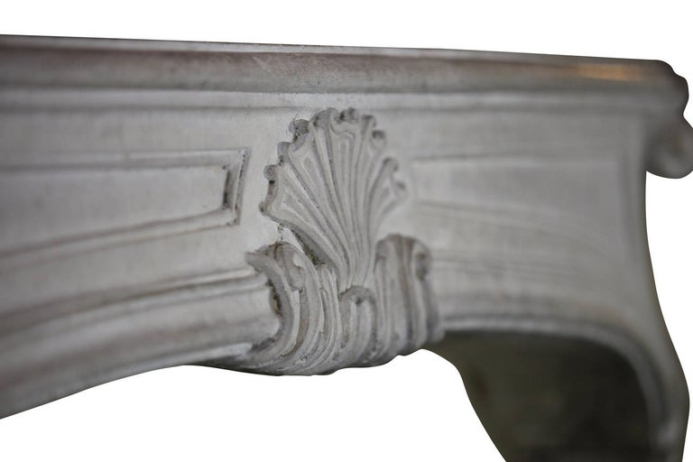 18th Century and Earlier 18th Century Regency Antique French Classic Limestone Fireplace Surround For Sale