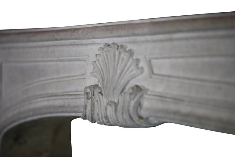 18th Century Regency Antique French Classic Limestone Fireplace Surround For Sale 1