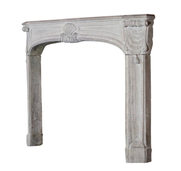 18th Century Regency Antique French Classic Limestone Fireplace Surround For Sale 3